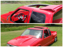 "40"" X 35"" Folding Sliding Rag Top ""94-01 Chevy/GMC S10 & Sonoma Ext Cab"" - displayed on a vehicle front and side view"