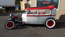 "40"" X 70"" Folding Sliding Rag Top ""1928-1931 Ford Model A Sedan (Tudor)"" - displayed open on a vehicle"