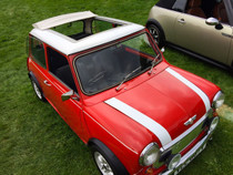 "35"" x 45"" Folding Sliding Rag Top ""1976-1983 Mini Mark IV"" - displayed on a vehicle"