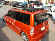 "40"" x 70"" Folding Sliding Rag Top ""2000-2007 Scion XB/Toyota BB"" - displayed open a on vehicle"
