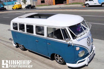 "46"" X 72"" Folding Sliding Rag Top ""1950-1967 VW Bus"" - open rag top displayed on a vehicle"