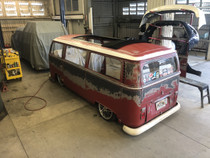 "44"" X 72"" Folding Sliding Rag Top ""1968-1979 VW Bus"" displayed open on a vehicle"