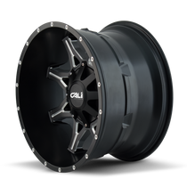 Cali Offroad Obnoxious 9107 Satin Black/Milled Spokes 20x12 8x180 -44mm 124.1mm - side view