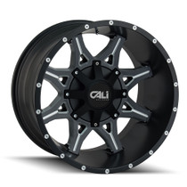 Cali Offroad Obnoxious 9107 Satin Black/Milled Spokes 22x12 8x180 -44mm 124.1mm- front view