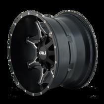 Cali Offroad Obnoxious 9107 Satin Black/Milled Spokes 22x12 8x180 -44mm 124.1mm - side view
