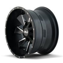 Cali Offroad Distorted 9106 Satin Black/Milled Spokes 20x12 8x180 -44mm 124.1mm - side view