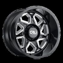 Cali Offroad Sevenfold Gloss Black/Milled Spokes 22x12 8x6.50 -51mm 130.8mm
