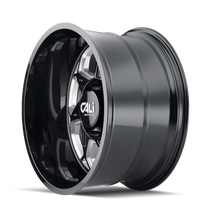 Cali Offroad Sevenfold Gloss Black/Milled Spokes 24x12 6x135 -51mm 87.1mm- side view