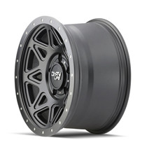 Dirty Life Theory Matte Black w/ Matte Black Lip 17x9 6x135 -12mm 87.1mm - side view