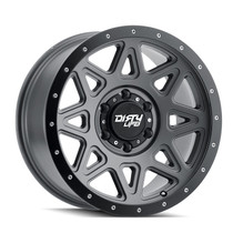 Dirty Life Theory Matte Gunmetal w/ Matte Black Lip 17x9 5x127 -12mm 78.1mm