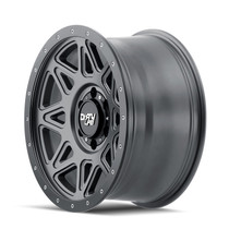 Dirty Life Theory Matte Gunmetal w/ Matte Black Lip 17x9 5x127 -12mm 78.1mm - side view