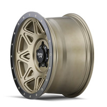 Dirty Life Theory Matte Gold w/ Matte Black Lip 17x9 6x139.7 -12mm 106mm - side view