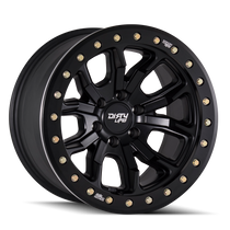 Dirty Life DT1 Matte Black w/ Simulated Beadlock Ring 17x9 8x165.1 -12mm 130.8mm