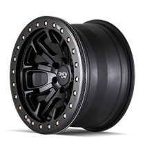 Dirty Life DT1 Matte Black w/ Simulated Beadlock Ring 17x9 6x139.7 -12mm 106mm- side view