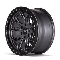 Dirty Life DT1 Satin Graphite w/ Simulated Beadlock Ring 17x9 6x139.7 -12mm 106mm - side view