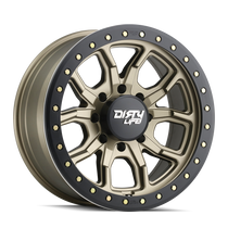Dirty Life DT1 Satin Gold w/ Simulated Beadlock Ring 17x9 8x165.1 -12mm 130.8mm