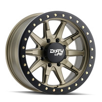 Dirty Life DT2 Satin Gold w/ Simulated Beadlock Ring 17x9 8x165.1 -12mm 130.8mm
