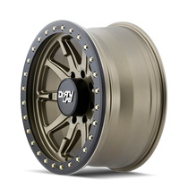 Dirty Life DT2 Satin Gold w/ Simulated Beadlock Ring 17x9 8x165.1 -12mm 130.8mm - side view