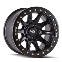 Dirty Life DT2 Matte Black w/ Simulated Beadlock Ring 17x9 5x127 -12mm 78.1mm