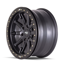 Dirty Life DT2 Matte Black w/ Simulated Beadlock Ring 17x9 5x127 -38mm 78.1mm - side view