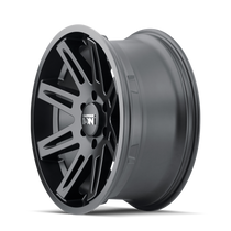 ION 142 Matte Black 17x9 5x127 -12mm 78.1mm- side wheel view