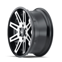 ION 142 Black w/ Machined Face 17x9 5x127 -12mm 78.1mm - side wheel view