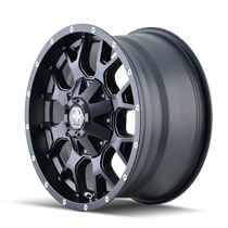 Mayhem 8015 Warrior Matte Black 17x9 5x127/5x139.7 -12mm 87mm - wheel side view