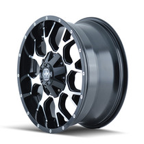 Mayhem 8015 Warrior Black/Machined 18x9 5x150/5x139.7 -12mm 110mm - wheel side view