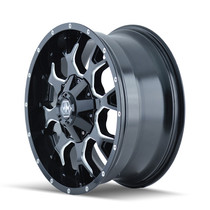 Mayhem 8015 Warrior Black/Milled Spoke 18x9 6x135/6x139.7 -12mm 108mm- wheel side view