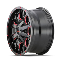 Mayhem Warrior Black w/ Prism Red 20x10 6x135/6x139.7 -25mm 106mm - wheel side view