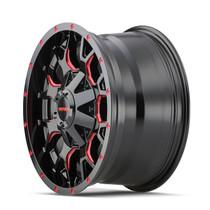 Mayhem Warrior Black w/ Prism Red 17x9 6x135/6x139.7 18mm 106mm - wheel side view