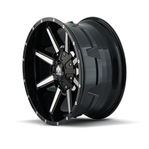 Mayhem Arsenal Gloss Black/Machined Face 18X9 5x150/5x139.7 -12mm 110mm- wheel side view