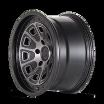 Mayhem Flat Iron Matte Black w/ Dark Tint 17x9 5x114.3 -6mm 72.6mm - wheel side view