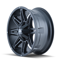 Mayhem Rampage 8090 Matte Black 17x9 5x127/5x139.7 -12mm 87mm- wheel side view