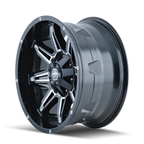 Mayhem Rampage 8090 Black/Milled Spokes 18x9 5x150/5x139.7 -12mm 110mm - wheel side view