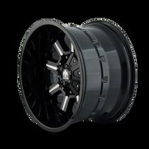 Mayhem Combat Gloss Black/Milled Spokes 17X9 5x127/5x139.7 -12mm 87mm - wheel side view