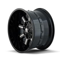 Mayhem Combat Gloss Black/Milled Spokes 17X9 5x114.3/5x127 18mm 87mm - wheel side view
