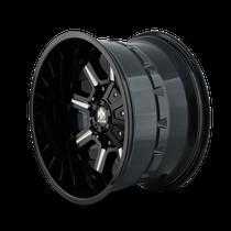 Mayhem Combat Gloss Black/Milled Spokes 17X9 6x120/6x139.7 18mm 78.10mm - wheel side view