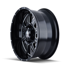 Mayhem 8100 Monstir Gloss Black/Milled Spokes 17X9 5x127/5x139.7 18mm 87mm - wheel side view