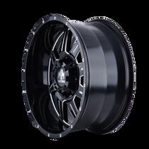 Mayhem 8100 Monstir Gloss Black/Milled Spokes 20x9 5x127/5x139.7 18mm 87mm - wheel side view