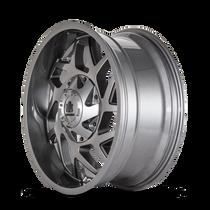 Mayhem Hatchet 8106 Gloss Gunmetal w/ Black 20x10 5x139.7/5x150 -19mm 110mm - wheel side view
