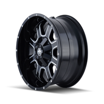 Mayhem Fierce 8103 Gloss Black/Milled Spokes 17X9 6x120/6x139.7 18mm 78.1mm - wheel side view