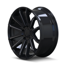 Mayhem Crossfire 8109 Gloss Black/Milled Spokes 20x9.5 5x139.7 18mm 108mm- wheel side view