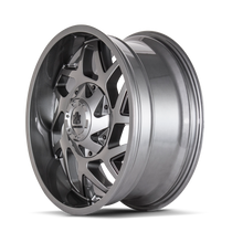 Mayhem Hatchet 8106 Gloss Gunmetal w/ Black 20x9 6x135/6x139.7 0mm 106mm - wheel side view