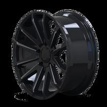 Mayhem Crossfire 8109 Gloss Black/Milled Spokes 22x9.5 6x139.7 25mm 106mm - wheel side view
