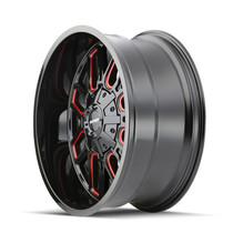 Mayhem Cogent Gloss Black w/ Prism Red 20x9 6x135/6x139.7 18mm 106mm - wheel side view