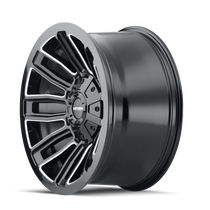 Mayhem Decoy Gloss Black w/ Milled Spokes 20x9 5x139.7/5x150 18mm 110mm - wheel side view