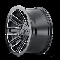 Mayhem Decoy Gloss Black w/ Milled Spokes 20x9 5x139.7/5x150 18mm 110mm - wheel side view