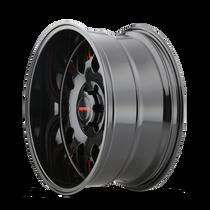 Mayhem Tripwire Black w/ Prism Red 20x9 6x139.7 0mm 106mm - wheel side view