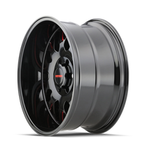 Mayhem Tripwire Black w/ Prism Red 20x9 6x139.7 18mm 106mm - wheel side view